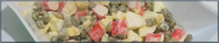 Рецепт салату з крабових паличок і горошку