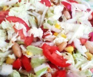 Салат з пекінської капусти і кукурудзи, із квасолею